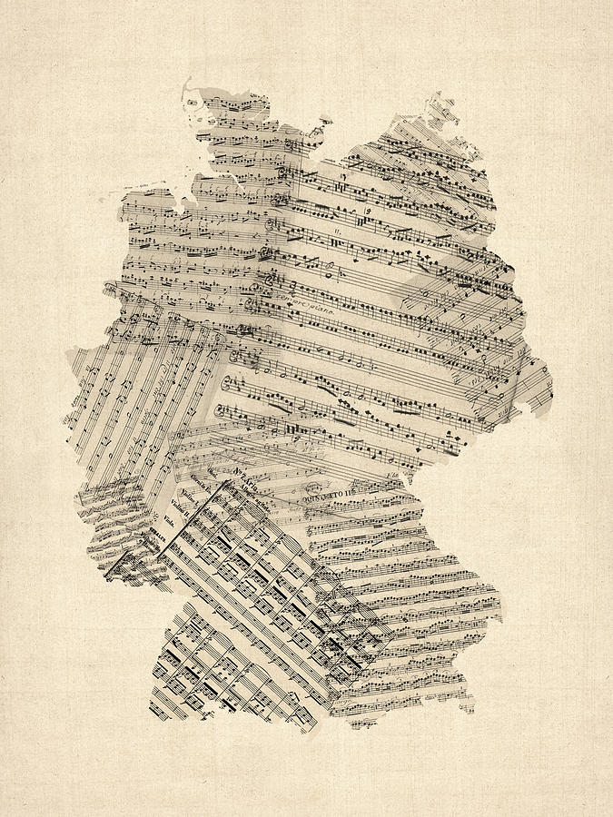 Germany Map Digital Art - Old Sheet Music Map Of Germany Map by Michael Tompsett