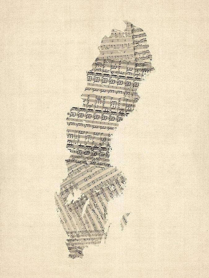 Old Sheet Music Map Of Sweden Digital Art