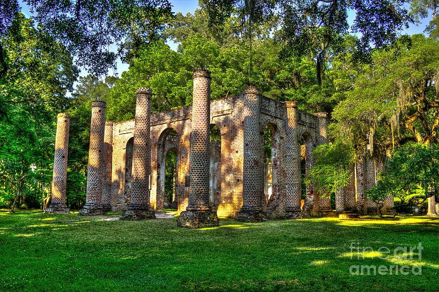 Old Sheldon Church Ruins In South Carolina Photograph
