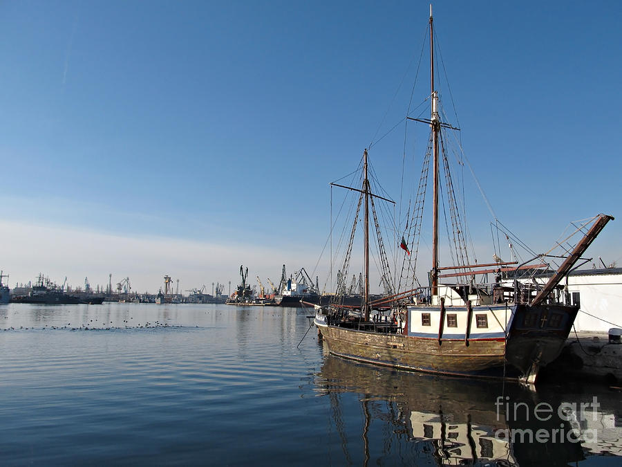Old Ship In Calm Water Harbor Photograph