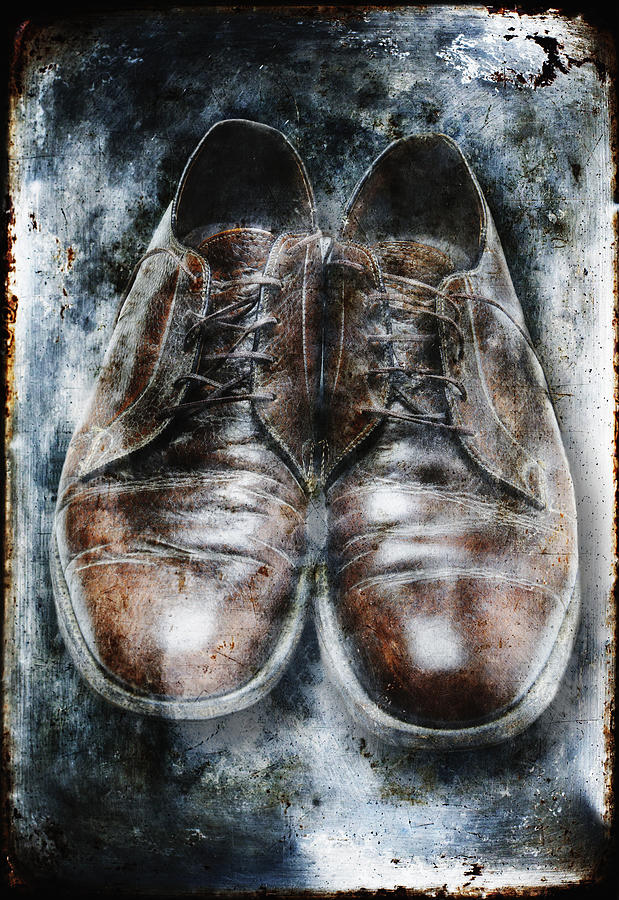Old Shoes Frozen In Ice Photograph