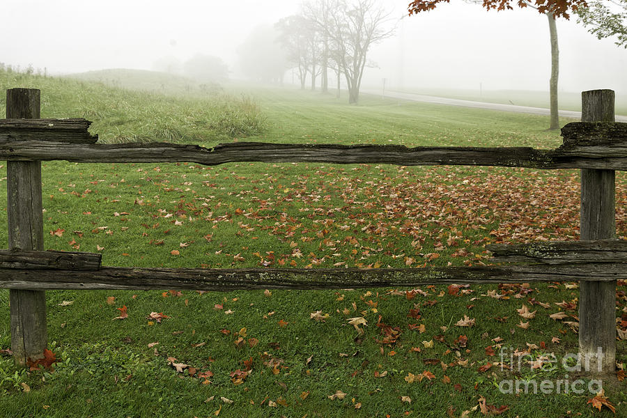 Old split rail fence and fallen leaves photograph by les