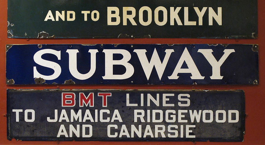 Subway Photograph - Old Subway Signs by Dave Mills
