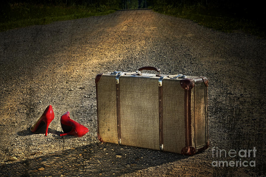 Old Suitcase With Red Shoes Left On Road Photograph  - Old Suitcase With Red Shoes Left On Road Fine Art Print