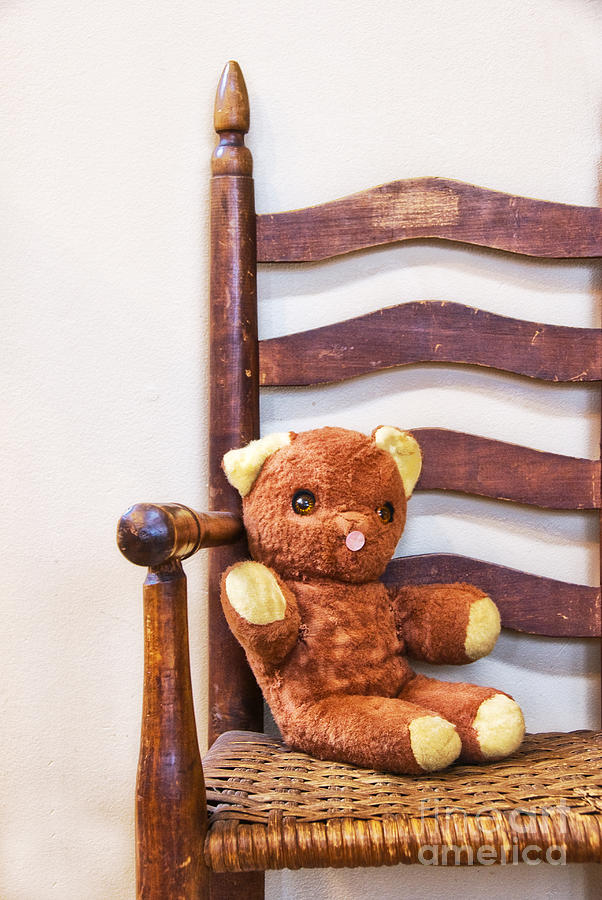 Old Teddy Bear Sitting In Chair Photograph  - Old Teddy Bear Sitting In Chair Fine Art Print