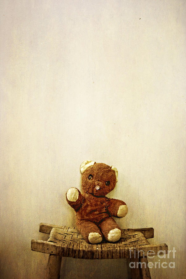 Old Teddy Bear Sitting On Stool Photograph  - Old Teddy Bear Sitting On Stool Fine Art Print