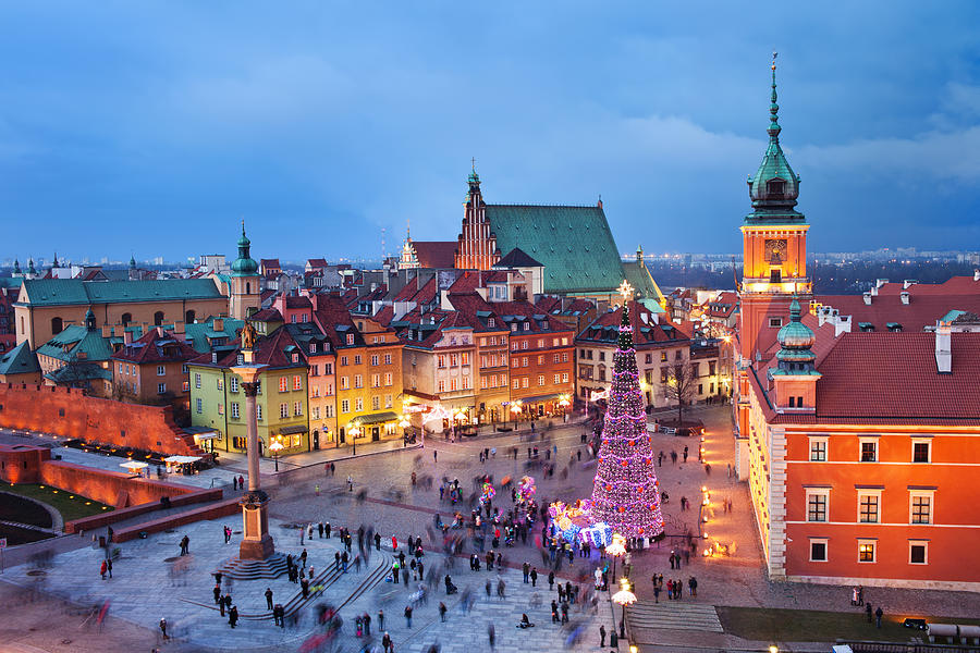 Old Town In Warsaw At Evening Photograph