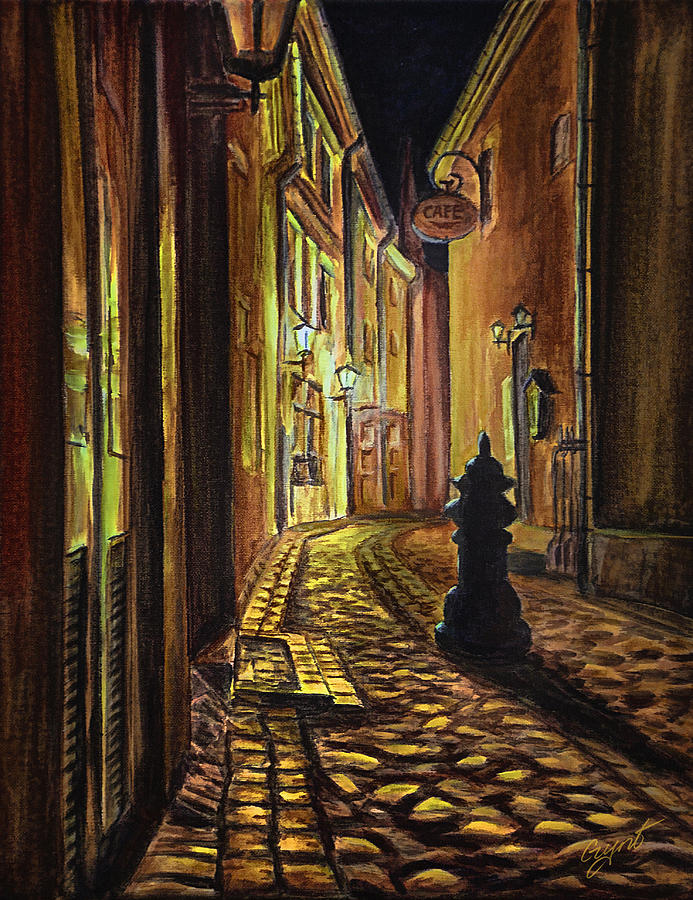 Old Town Street At Night Painting
