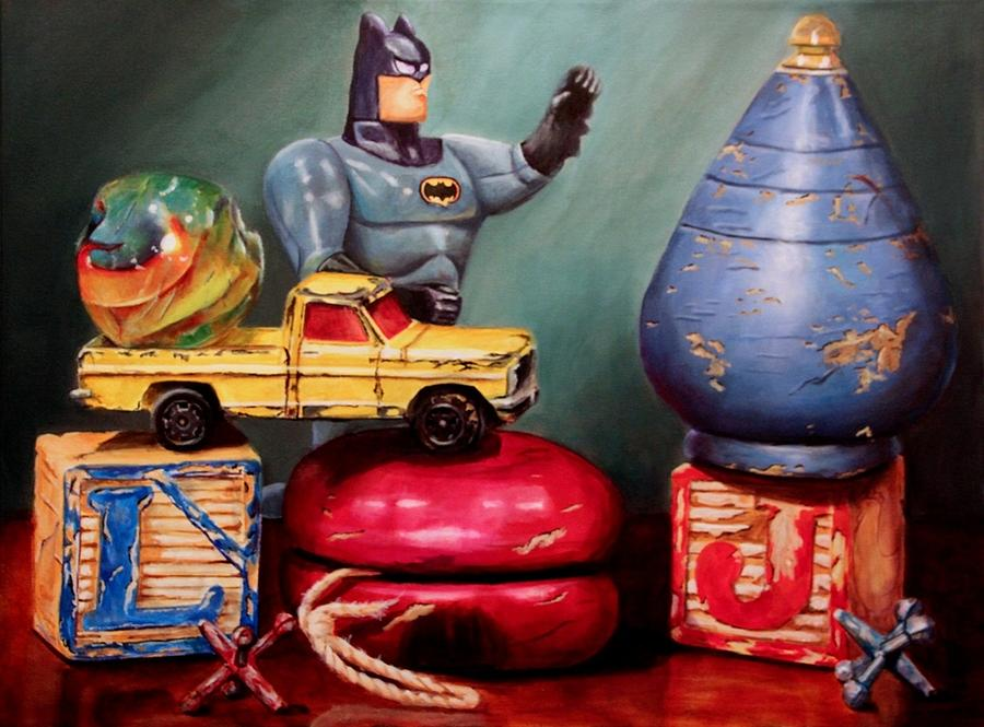 Art Toys For Boys : Old toys for boys painting by kathy hildebrandt