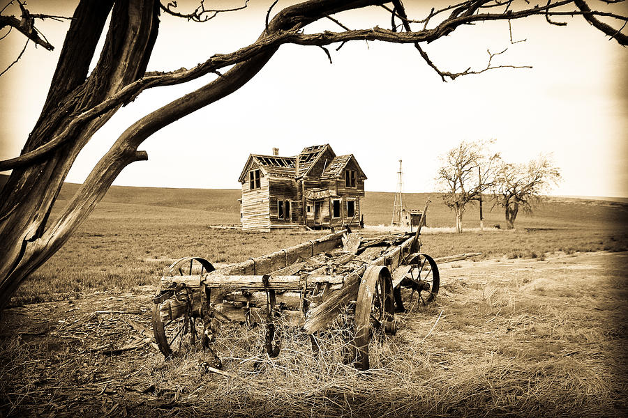 Covered Wagon Photograph - Old Wagon And Homestead by Athena Mckinzie