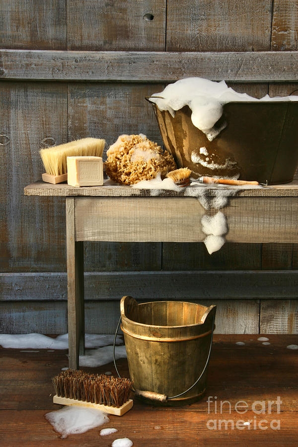 Old Wash Tub With Soap And Scrub Brushes Photograph  - Old Wash Tub With Soap And Scrub Brushes Fine Art Print