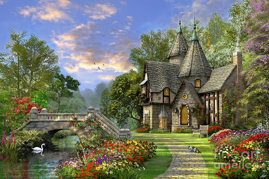 Old Waterway Cottage Digital Art