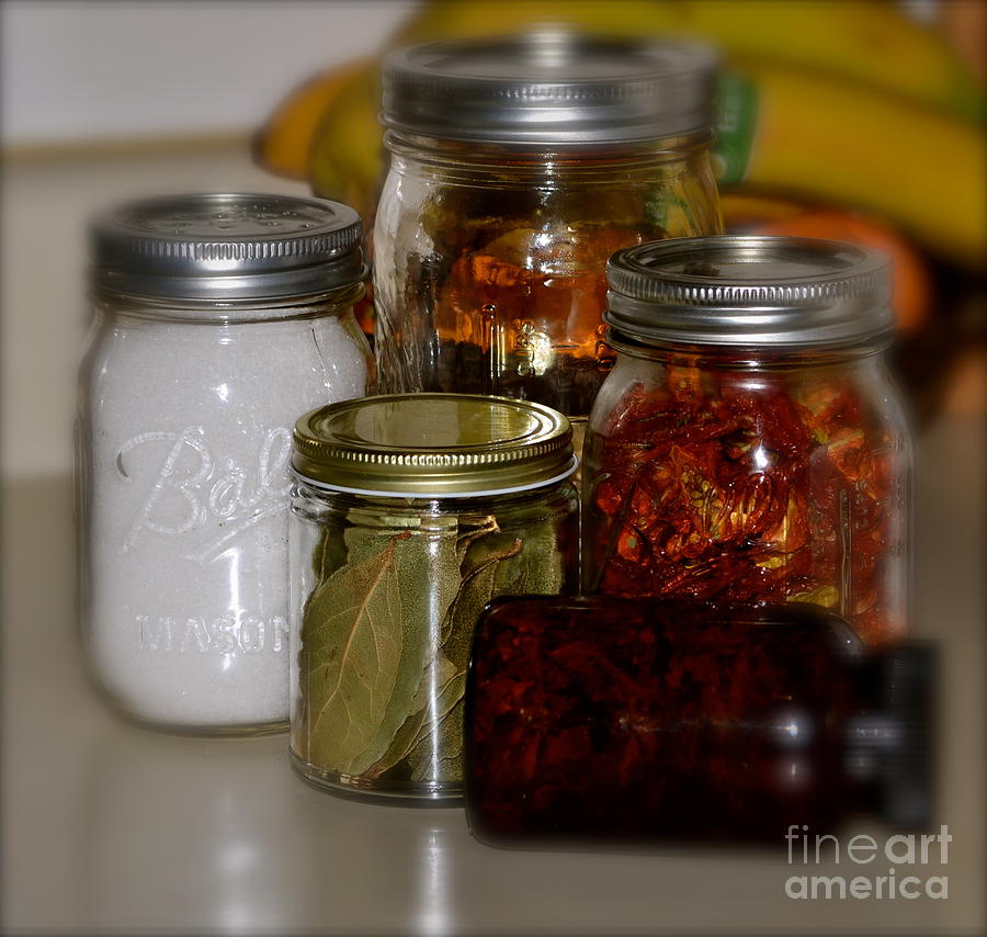 Faded Mason Jars- Herbs And Spices- With Foods And Dried Herbs- Country Cabinet- Old Jars-(art-photography Images By Rae Ann M. Garrett- Raeann Garrett) Photograph - Old Ways New by Rae Ann  M Garrett
