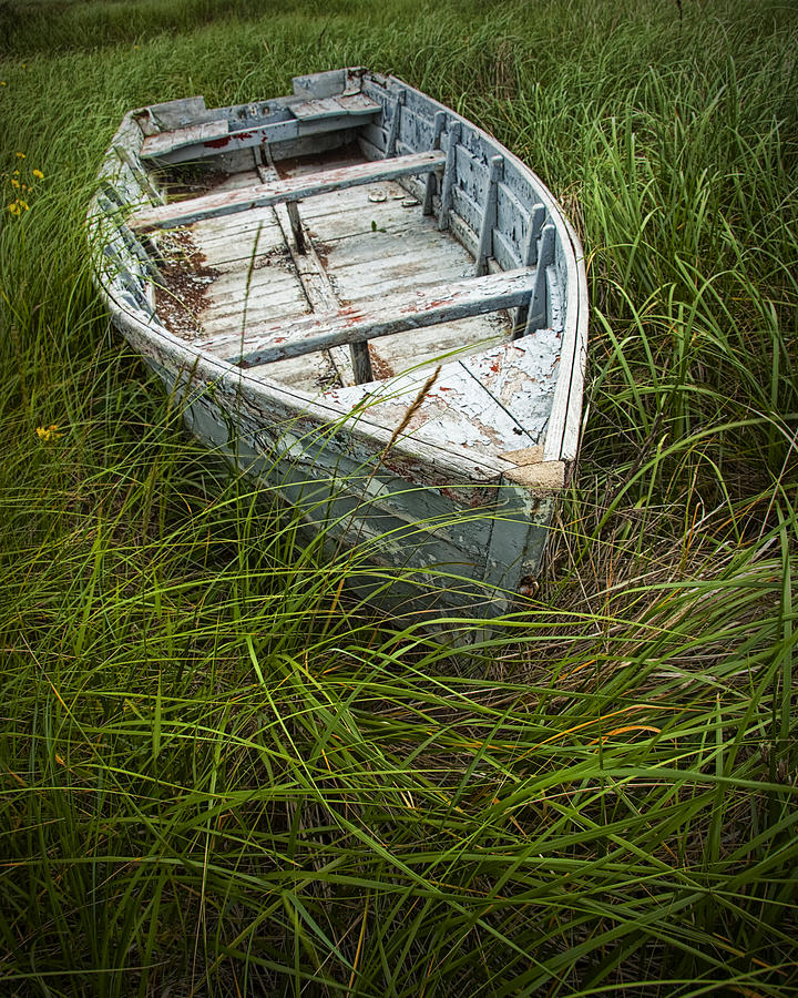 Old Weathered Row Boat Abandoned In The Grass On Pei No.032 Photograph ...