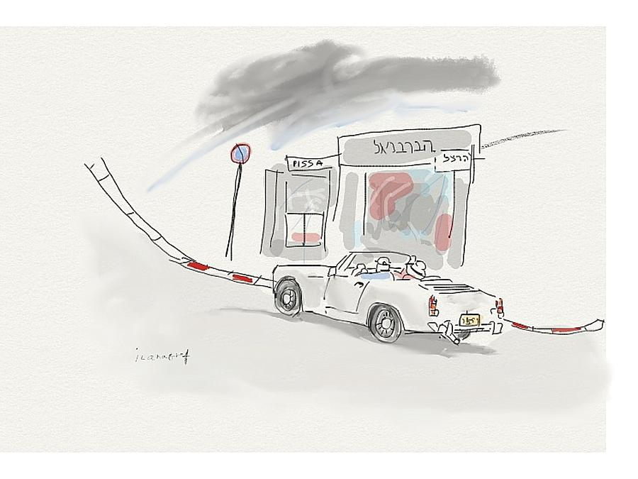 Old White Car In Tel Aviv Street Drawing