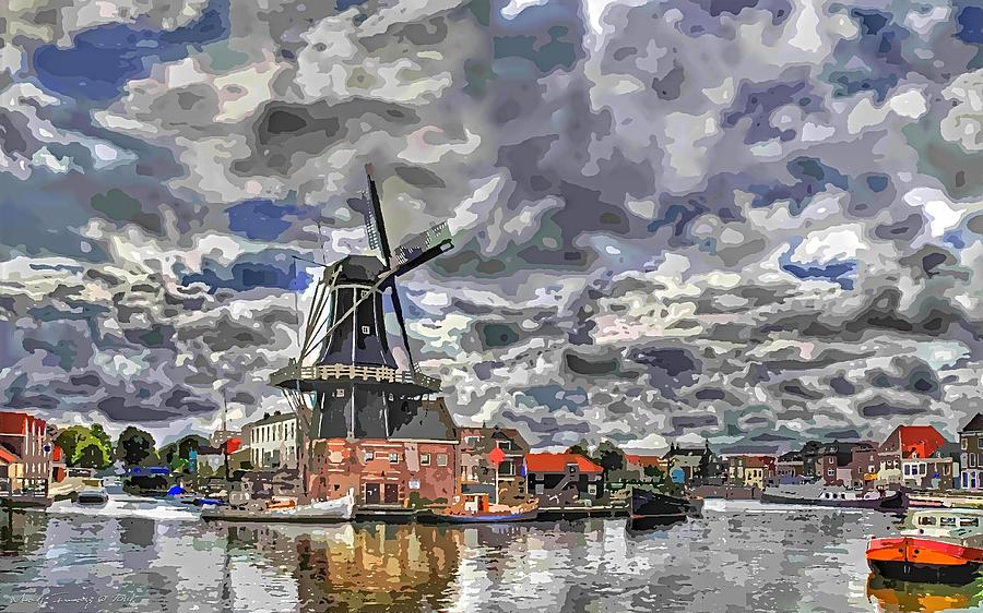 Old Windmill On The Shore Digital Art