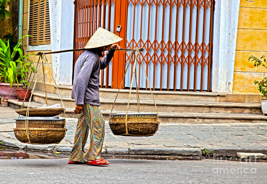 Old Woman In Hoi An Vietnam Photograph  - Old Woman In Hoi An Vietnam Fine Art Print