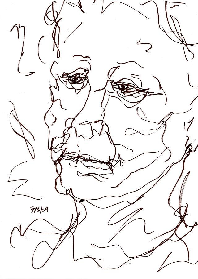 Old Woman Drawing  - Old Woman Fine Art Print