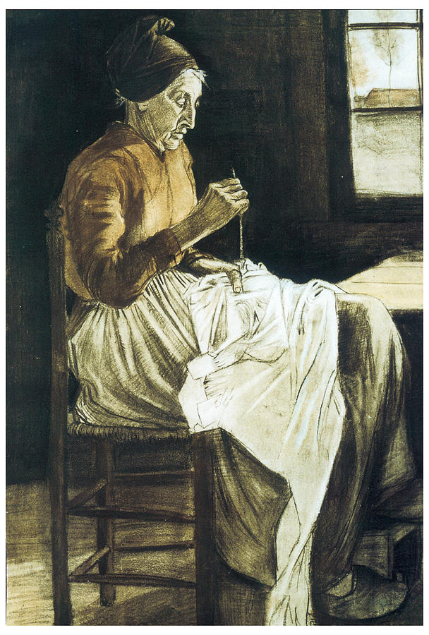 Old Woman Sewing Drawing  - Old Woman Sewing Fine Art Print