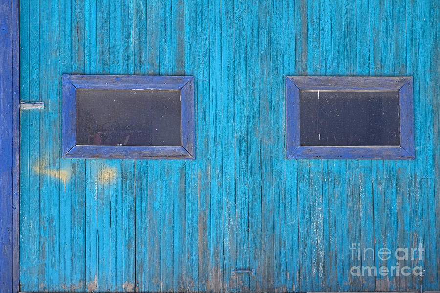 Old Wood Blue Garage Door Photograph  - Old Wood Blue Garage Door Fine Art Print