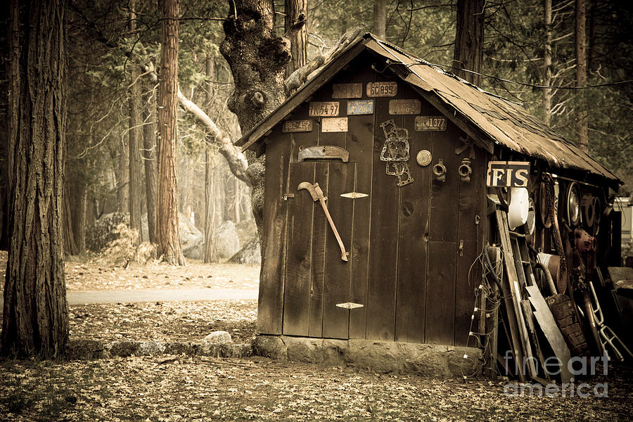 Aged Photograph - Old Wooden Shed Yosemite by Jane Rix