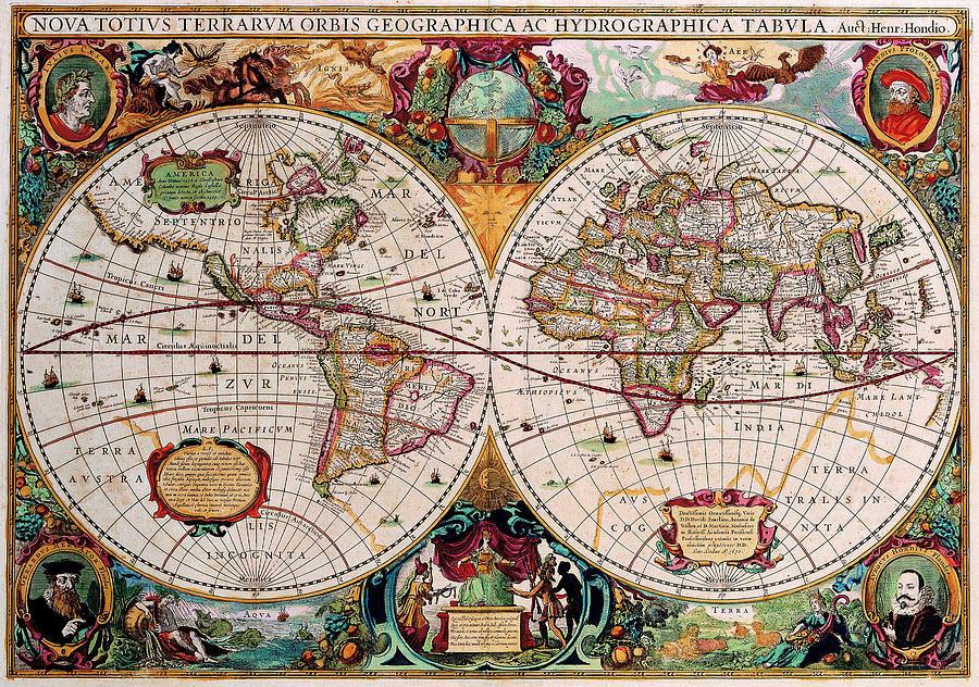 Old World Map Digital Art