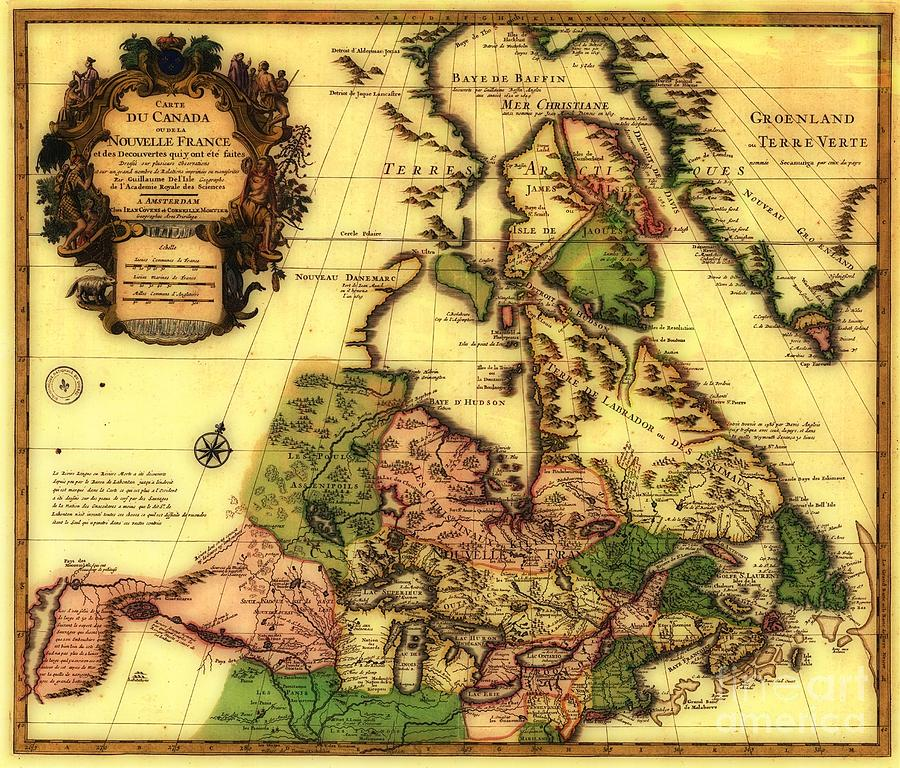 Old World Map Of Canada Photograph