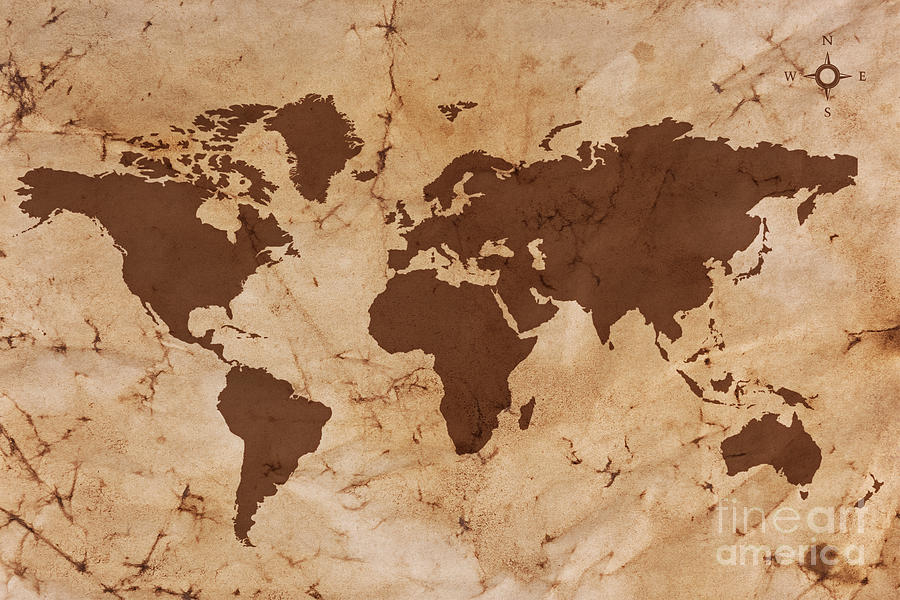 Old World Map On Creased And Stained Parchment Paper Photograph
