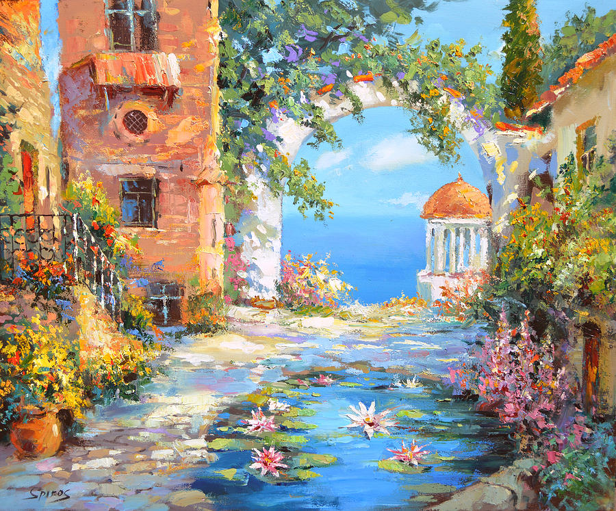 Old Yard Painting By Dmitry Spiros