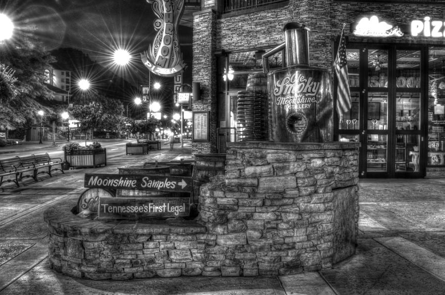 Old Smoky Tennessee Moonshine Distillery Photograph - Ole Smoky Tennessee Moonshine In Black And White by Greg and Chrystal Mimbs