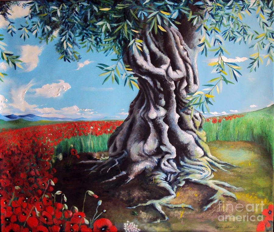 Olive Tree In A Sea Of Poppies Painting  - Olive Tree In A Sea Of Poppies Fine Art Print