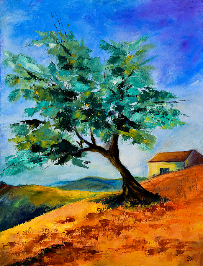 Olive Painting - Olive Tree On The Hill by Elise Palmigiani