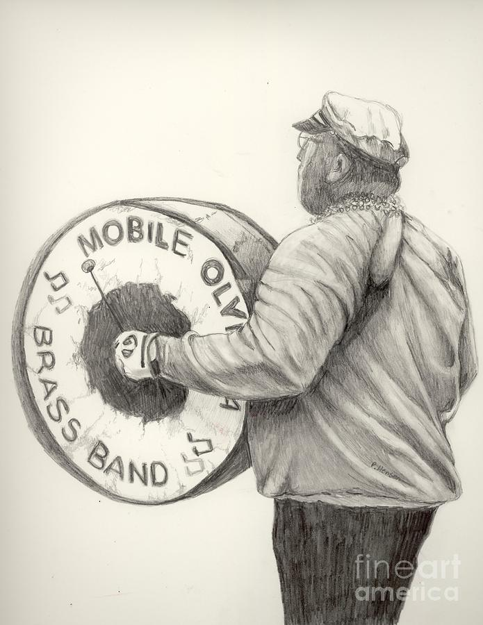 Band Drawing - Olympia Brass Band by Phyllis Henson