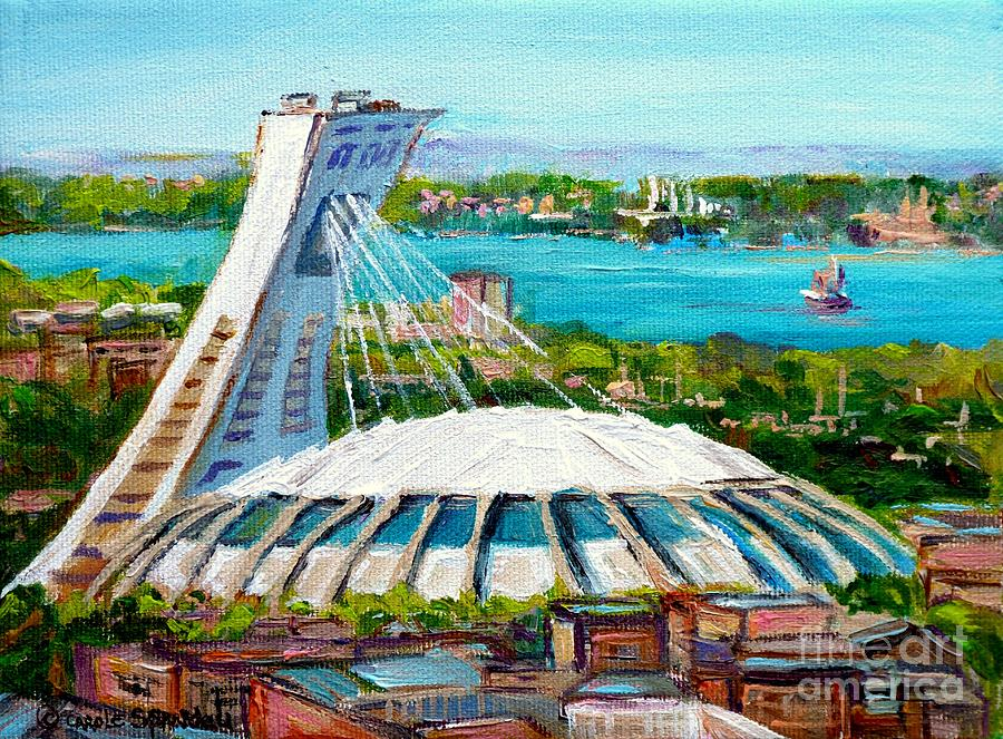Olympic Stadium Montreal Painting Velodrome Biodome Heritage Art By City Scene Artist Carole Spandau Painting