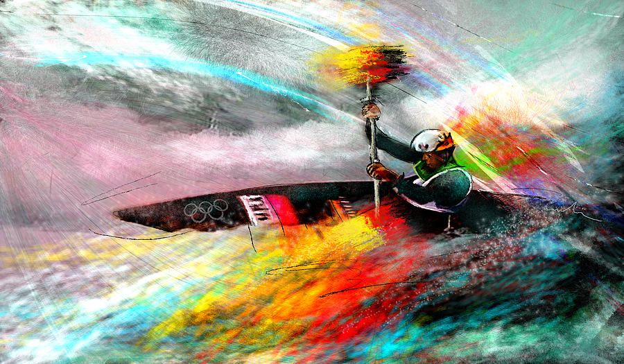 Olympics Kayaking 01 Painting By Miki De Goodaboom