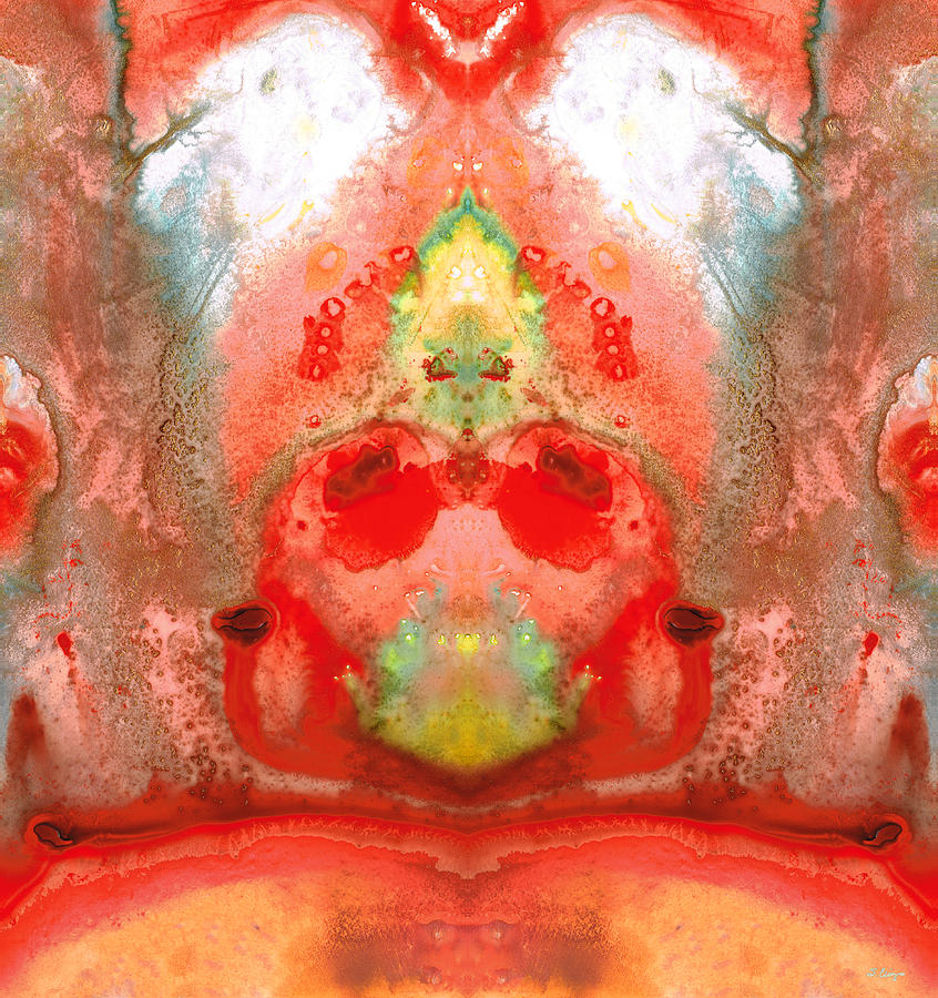 Om - Red Meditation - Abstract Art By Sharon Cummings Painting