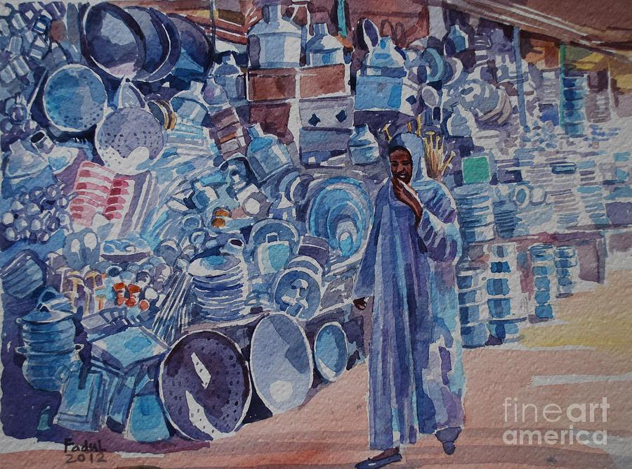 Omdurman Markit Painting - Omdurman Markit by Mohamed Fadul