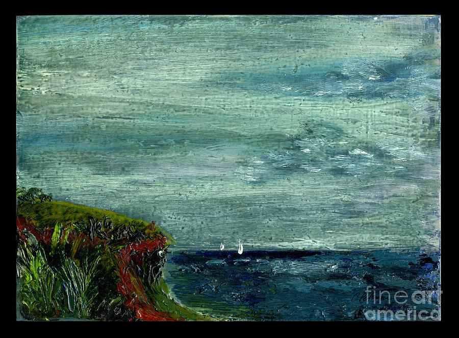 On A Bluff Over The Sea Looking At Sailboats Painting  - On A Bluff Over The Sea Looking At Sailboats Fine Art Print