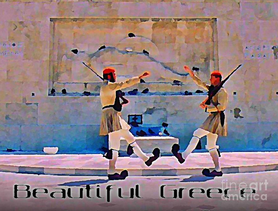 On Guard At The Athens Capitol Painting