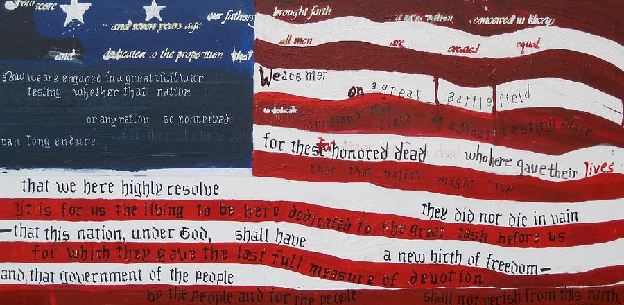 Flag Painting - On Hallowed Ground by Lawrence  Dugan