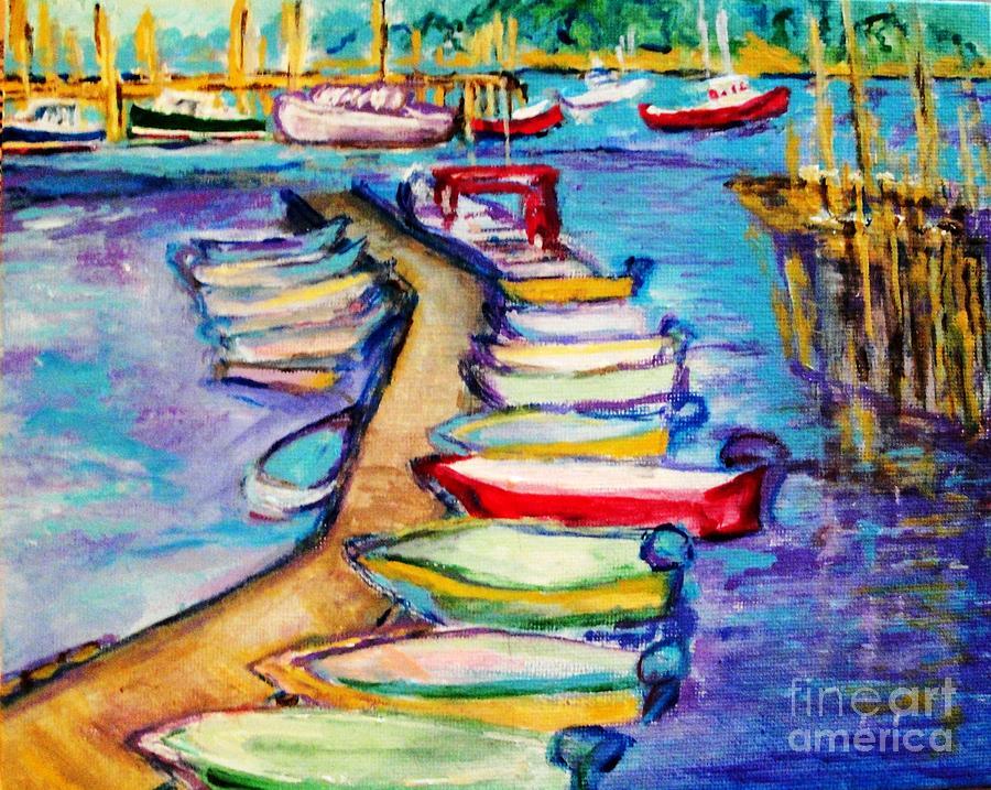 Sailboard Painting - On The Boardwalk by Helena Bebirian