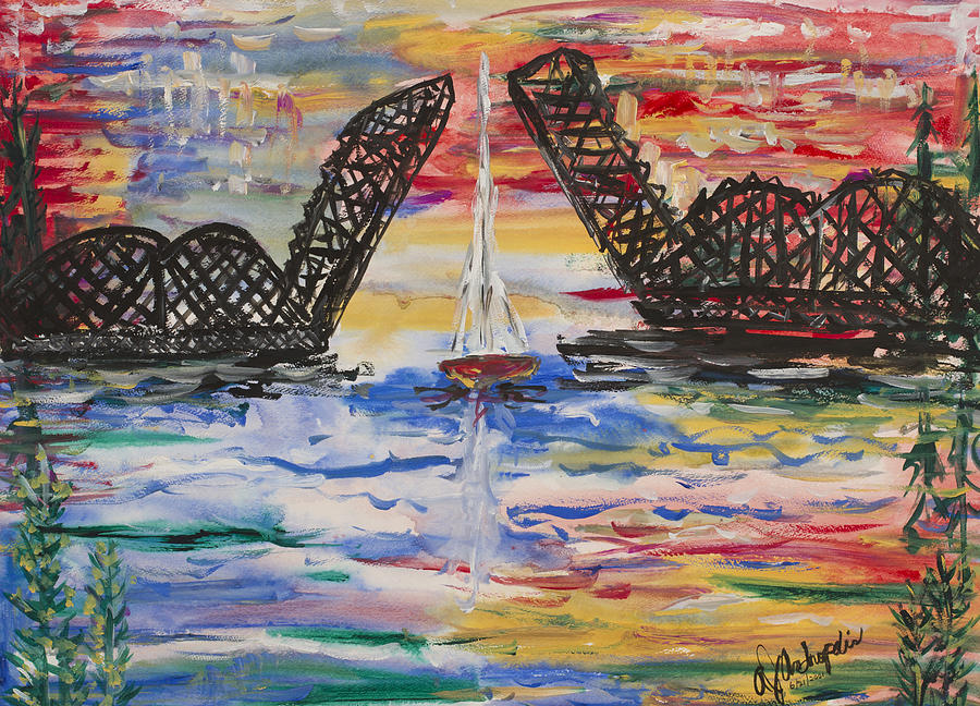 On The Hour. The Sailboat And The Steel Bridge Painting