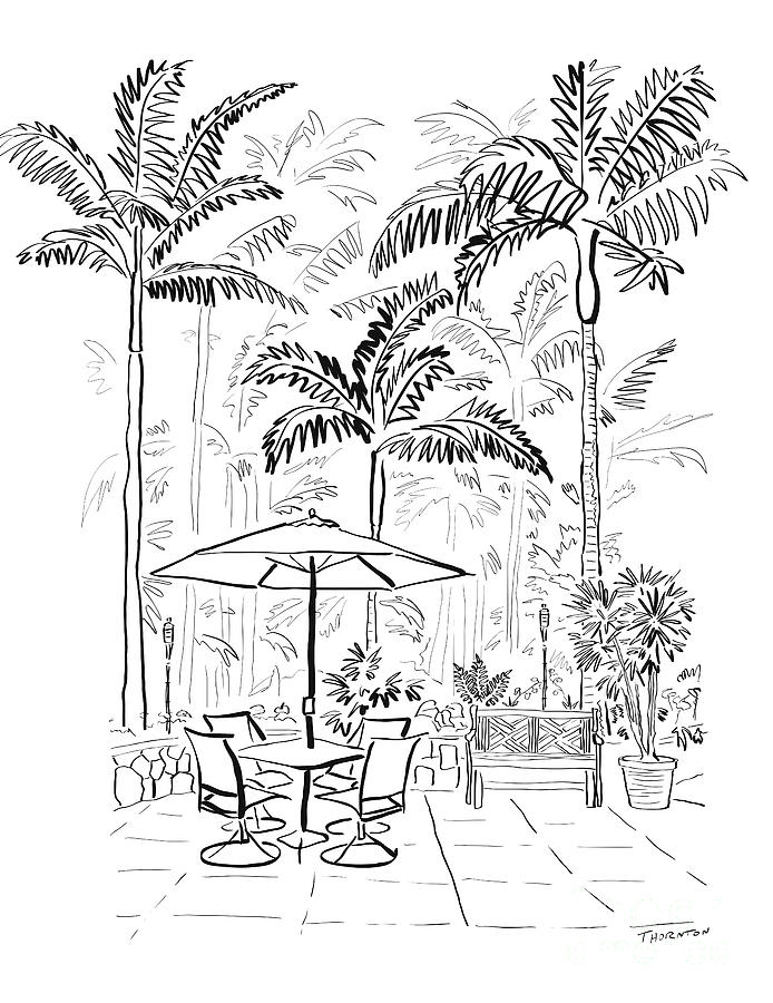 On The Lanai Ink Only Drawing  - On The Lanai Ink Only Fine Art Print