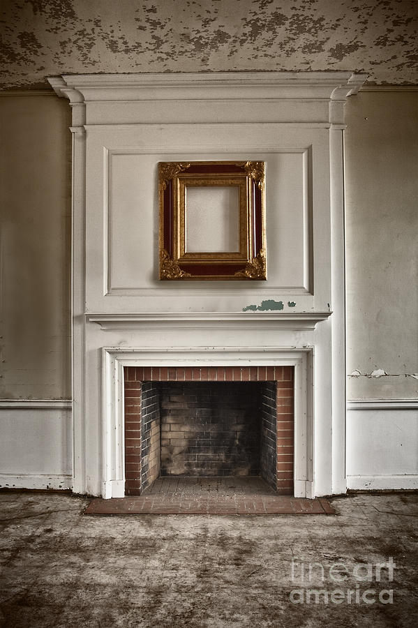 Interior; Inside; Indoors; Room; Living Room; Family Room; Abandoned; Empty; Cement; Peeling; Paint; Dirty; Aged; Creepy; Broken; Fireplace; Hearth; Trim; Frame; Ornate; Crown Molding; Bricks; Still Life Photograph - Once Was by Margie Hurwich