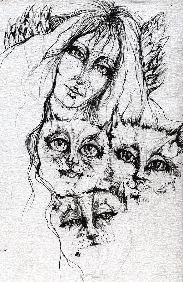 One Angel Three Cats Drawing  - One Angel Three Cats Fine Art Print