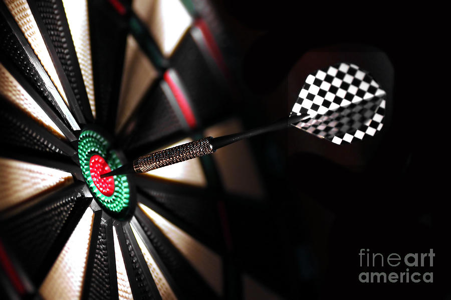 One Arrow In The Centre Of A Dart Board Photograph  - One Arrow In The Centre Of A Dart Board Fine Art Print