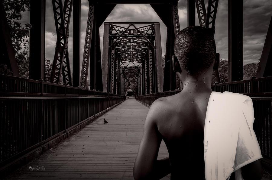 One Boy One Pigeon One Bridge Photograph