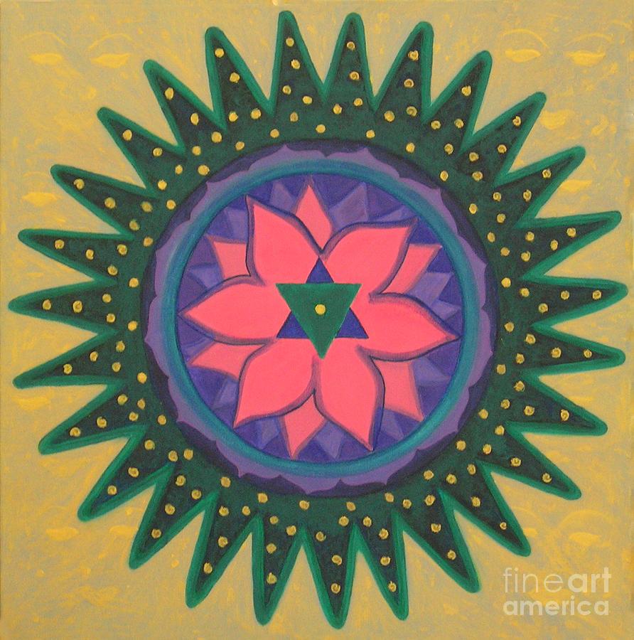 Yantra Painting - One Gold Bindu by Mini Arora