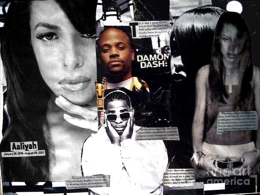 Hip Hop Fine Art Isis Kenney Aaliyah R Kelly Dame Dash Mixed Media - One In A Million Full View by Isis Kenney