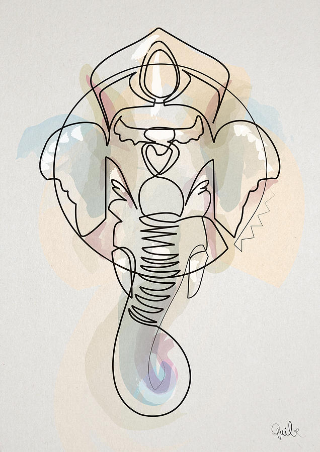 One Line Drawing Quibe : One line ganesh drawing by quibe